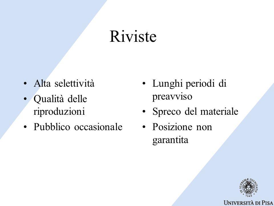 Riviste Alta selettività Qualità delle riproduzioni Pubblico occasionale Lunghi periodi di preavviso Spreco del materiale Posizione non garantita