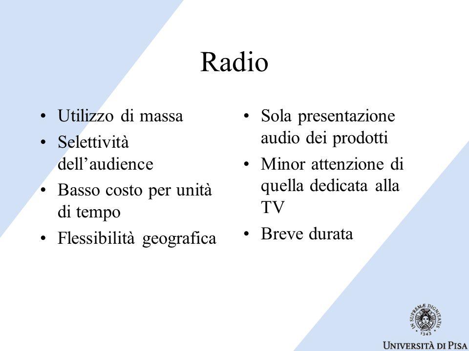 Radio Utilizzo di massa Selettività dell'audience Basso costo per unità di tempo Flessibilità geografica Sola presentazione audio dei prodotti Minor attenzione di quella dedicata alla TV Breve durata