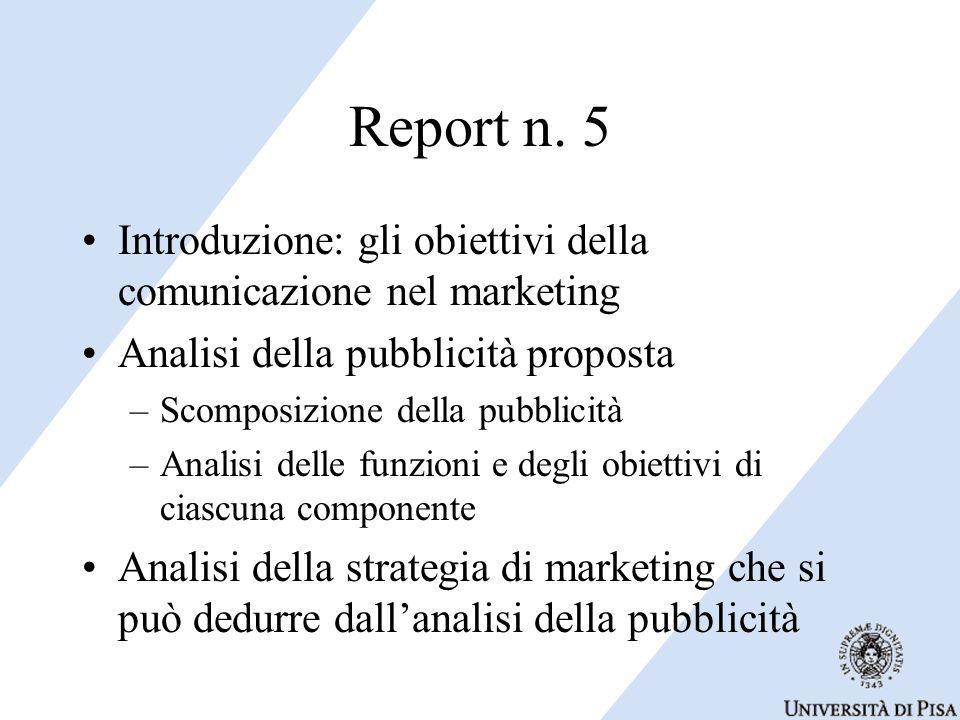 Introduzione: gli obiettivi della comunicazione nel marketing Analisi della pubblicità proposta –Scomposizione della pubblicità –Analisi delle funzioni e degli obiettivi di ciascuna componente Analisi della strategia di marketing che si può dedurre dall'analisi della pubblicità