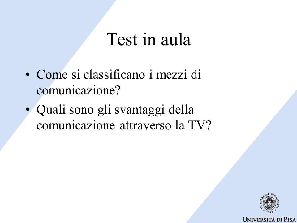 Test in aula Come si classificano i mezzi di comunicazione.