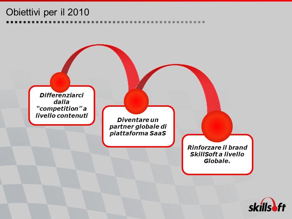 Obiettivi per il 2010 Rinforzare il brand SkillSoft a livello Globale.