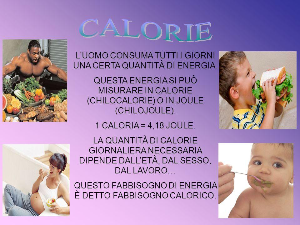 L'UOMO CONSUMA TUTTI I GIORNI UNA CERTA QUANTITÀ DI ENERGIA. QUESTA ENERGIA SI PUÒ MISURARE IN CALORIE (CHILOCALORIE) O IN JOULE (CHILOJOULE). 1 CALOR