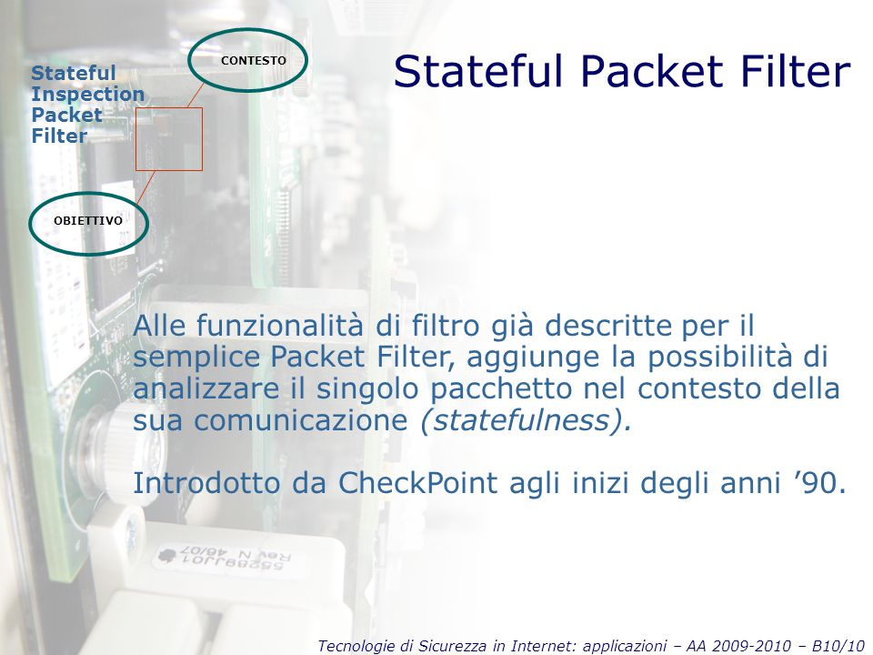 Tecnologie di Sicurezza in Internet: applicazioni – AA 2009-2010 – B10/10 Stateful Packet Filter CONTESTO OBIETTIVO Stateful Inspection Packet Filter