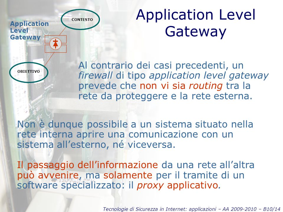 Tecnologie di Sicurezza in Internet: applicazioni – AA 2009-2010 – B10/14 Application Level Gateway CONTESTO OBIETTIVO Application Level Gateway Al contrario dei casi precedenti, un firewall di tipo application level gateway prevede che non vi sia routing tra la rete da proteggere e la rete esterna.