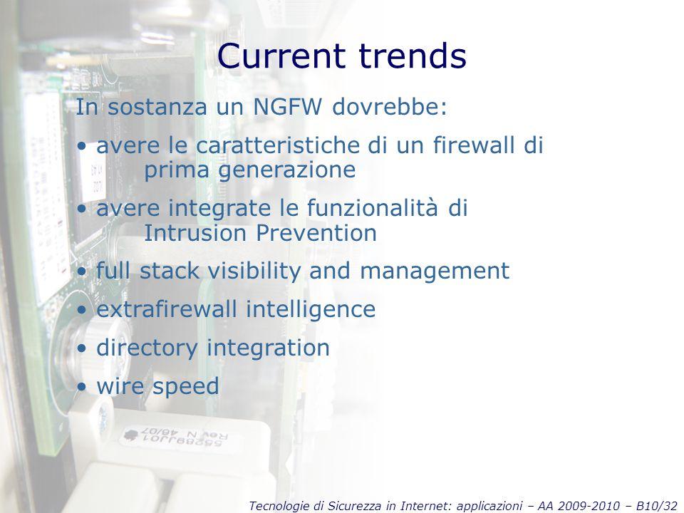 Tecnologie di Sicurezza in Internet: applicazioni – AA 2009-2010 – B10/32 Current trends In sostanza un NGFW dovrebbe: avere le caratteristiche di un