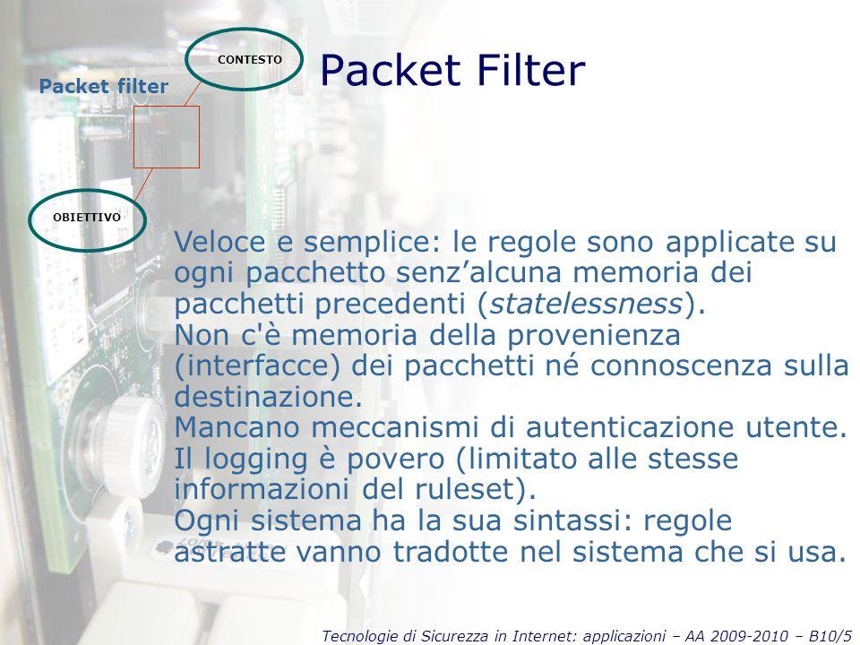 Tecnologie di Sicurezza in Internet: applicazioni – AA 2009-2010 – B10/5 Packet Filter CONTESTO OBIETTIVO Packet filter Veloce e semplice: le regole sono applicate su ogni pacchetto senz'alcuna memoria dei pacchetti precedenti (statelessness).