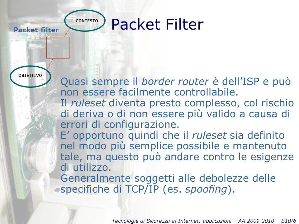 Tecnologie di Sicurezza in Internet: applicazioni – AA 2009-2010 – B10/6 Packet Filter CONTESTO OBIETTIVO Packet filter Quasi sempre il border router è dell'ISP e può non essere facilmente controllabile.