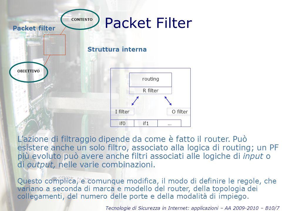 Tecnologie di Sicurezza in Internet: applicazioni – AA 2009-2010 – B10/7 Packet Filter CONTESTO OBIETTIVO Packet filter L'azione di filtraggio dipende da come è fatto il router.