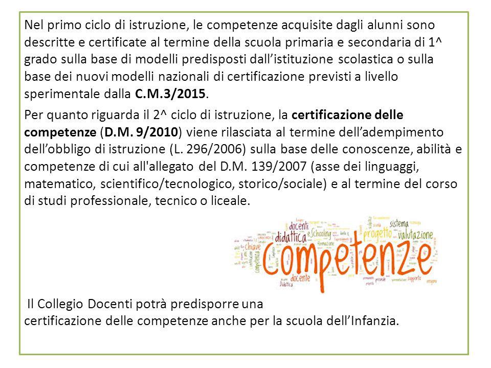 10 Nel primo ciclo di istruzione, le competenze acquisite dagli alunni sono descritte e certificate al termine della scuola primaria e secondaria di 1