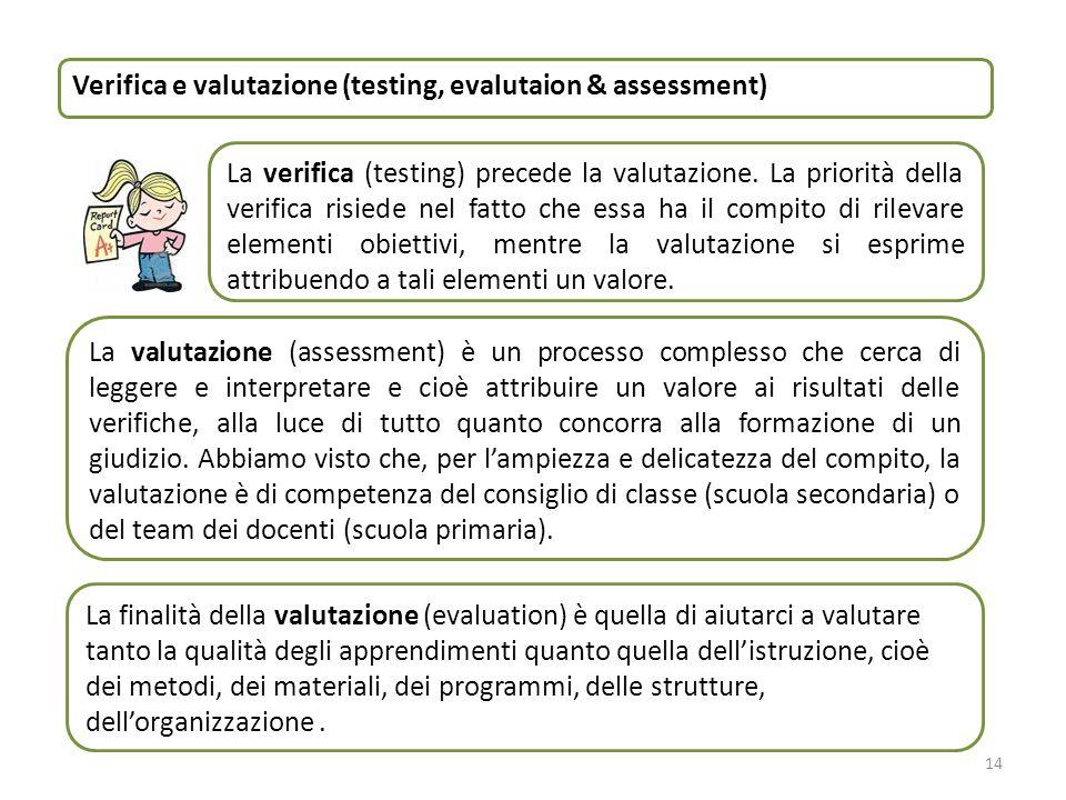 14 La valutazione (assessment) è un processo complesso che cerca di leggere e interpretare e cioè attribuire un valore ai risultati delle verifiche, a