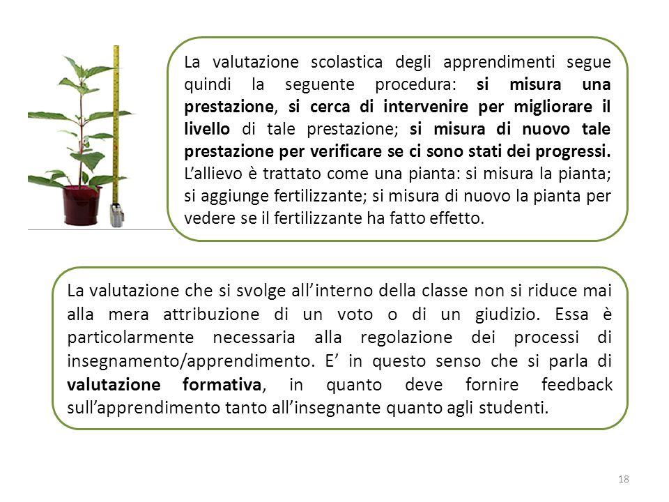 La valutazione scolastica degli apprendimenti segue quindi la seguente procedura: si misura una prestazione, si cerca di intervenire per migliorare il