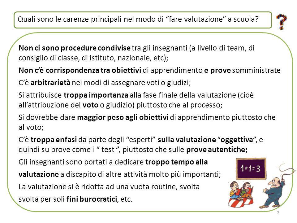 Non ci sono procedure condivise tra gli insegnanti (a livello di team, di consiglio di classe, di istituto, nazionale, etc); Non c'è corrispondenza tr