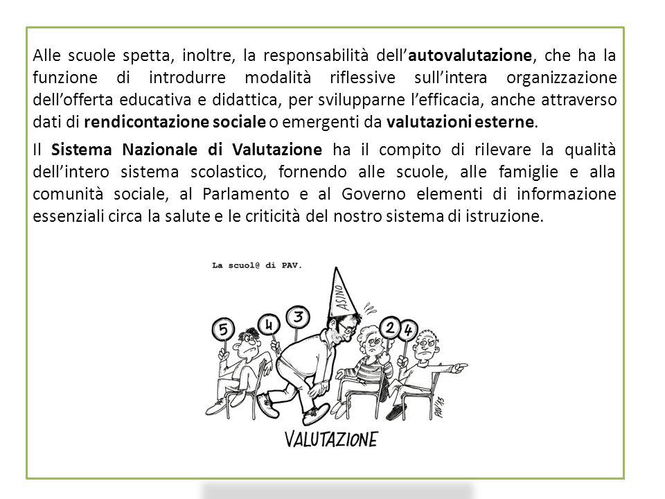 21 Alle scuole spetta, inoltre, la responsabilità dell'autovalutazione, che ha la funzione di introdurre modalità riflessive sull'intera organizzazion