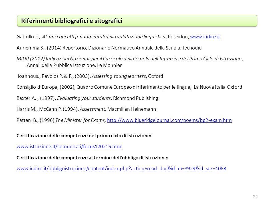 Gattullo F., Alcuni concetti fondamentali della valutazione linguistica, Poseidon, www.indire.itwww.indire.it Auriemma S., (2014) Repertorio, Dizionar