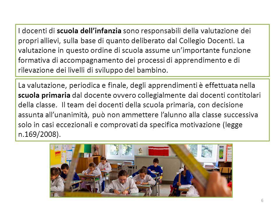 6 I docenti di scuola dell'infanzia sono responsabili della valutazione dei propri allievi, sulla base di quanto deliberato dal Collegio Docenti. La v