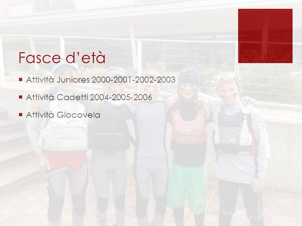 Fasce d'età  Attività Juniores 2000-2001-2002-2003  Attività Cadetti 2004-2005-2006  Attività Giocovela
