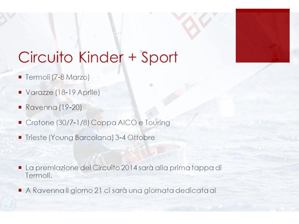 Circuito Kinder + Sport  Termoli (7-8 Marzo)  Varazze (18-19 Aprile)  Ravenna (19-20)  Crotone (30/7-1/8) Coppa AICO e Touring  Trieste (Young Barcolana) 3-4 Ottobre  La premiazione del Circuito 2014 sarà alla prima tappa di Termoli.