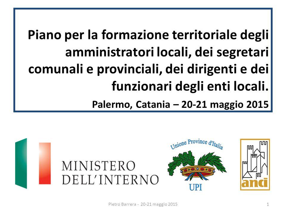Piano per la formazione territoriale degli amministratori locali, dei segretari comunali e provinciali, dei dirigenti e dei funzionari degli enti locali.
