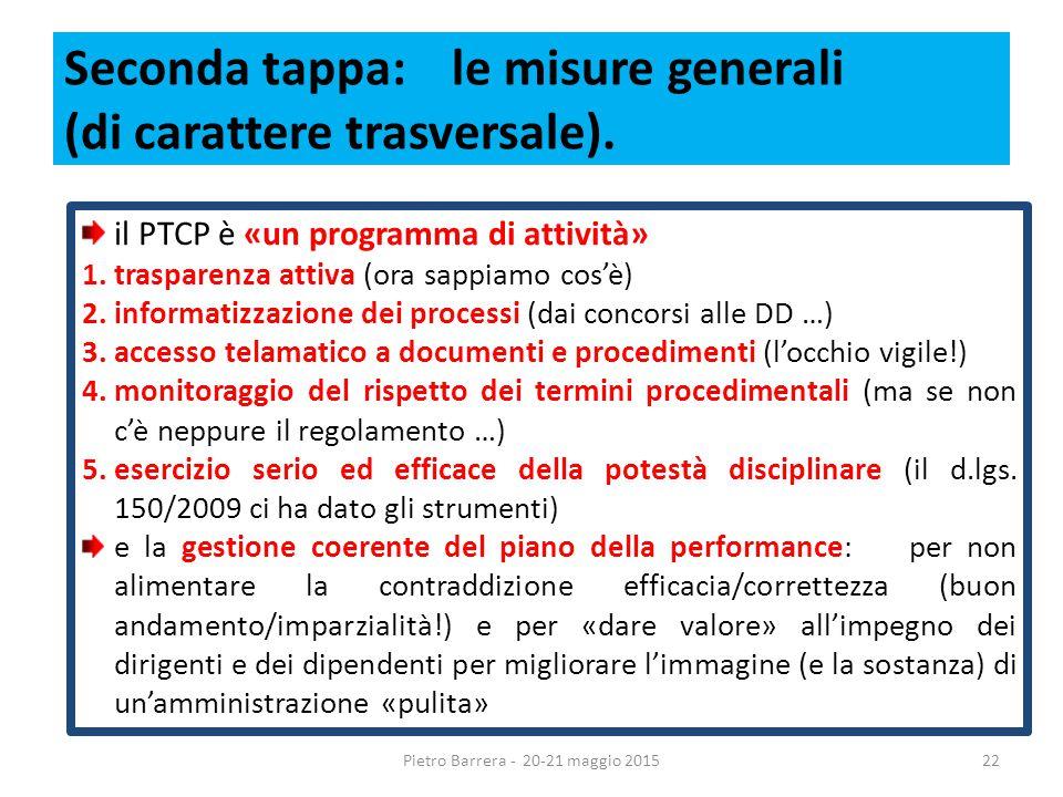Seconda tappa: le misure generali (di carattere trasversale).