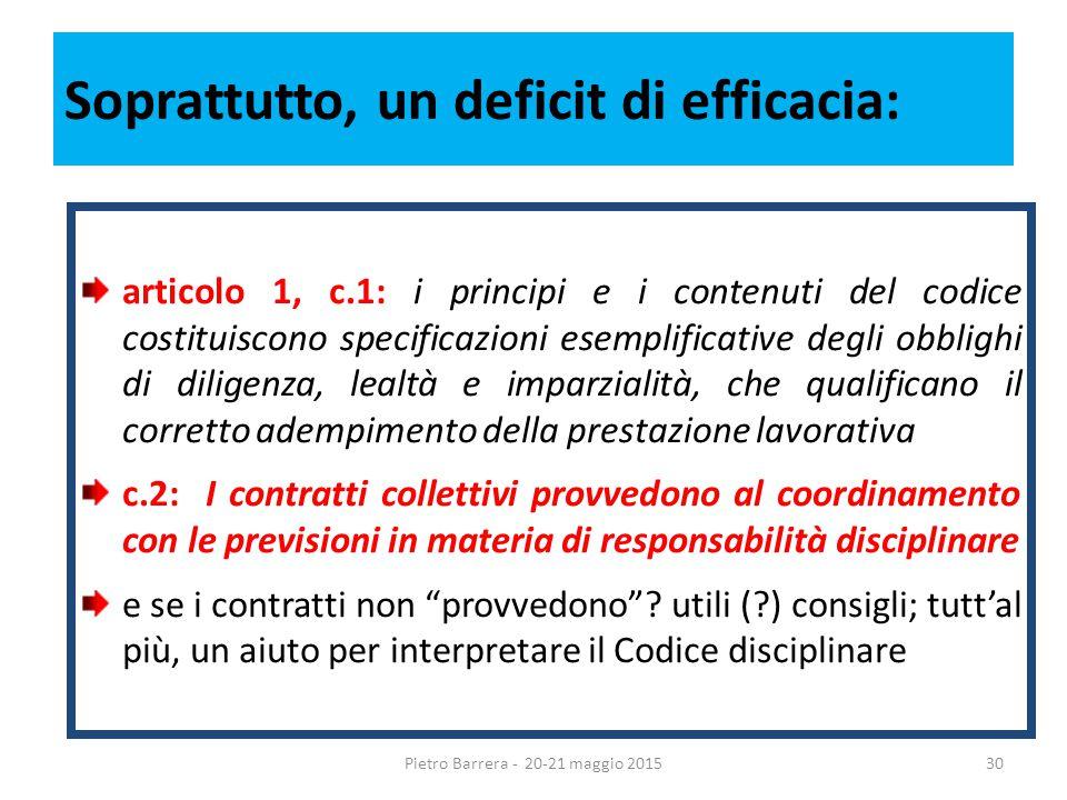 Soprattutto, un deficit di efficacia: articolo 1, c.1: i principi e i contenuti del codice costituiscono specificazioni esemplificative degli obblighi di diligenza, lealtà e imparzialità, che qualificano il corretto adempimento della prestazione lavorativa c.2: I contratti collettivi provvedono al coordinamento con le previsioni in materia di responsabilità disciplinare e se i contratti non provvedono .