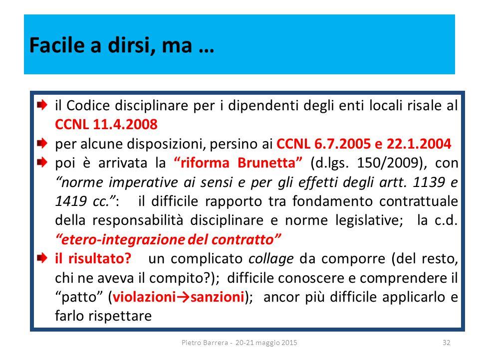 Facile a dirsi, ma … il Codice disciplinare per i dipendenti degli enti locali risale al CCNL 11.4.2008 per alcune disposizioni, persino ai CCNL 6.7.2005 e 22.1.2004 poi è arrivata la riforma Brunetta (d.lgs.