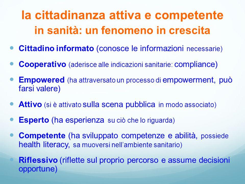 la cittadinanza attiva e competente in sanità: un fenomeno in crescita Cittadino informato (conosce le informazioni necessarie) Cooperativo (aderisce