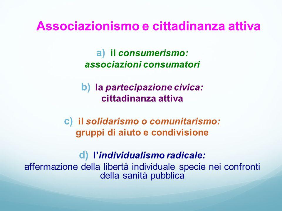 Associazionismo e cittadinanza attiva a) il consumerismo: associazioni consumatori b) la partecipazione civica: cittadinanza attiva c) il solidarismo
