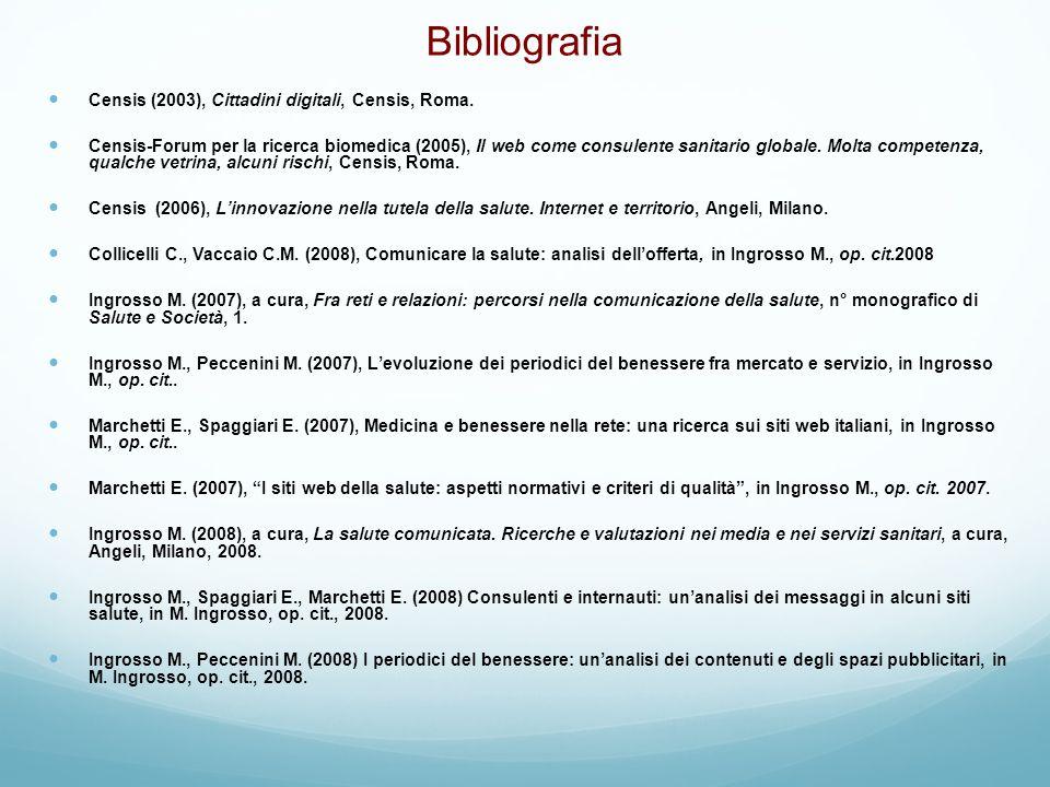 Bibliografia Censis (2003), Cittadini digitali, Censis, Roma. Censis-Forum per la ricerca biomedica (2005), Il web come consulente sanitario globale.