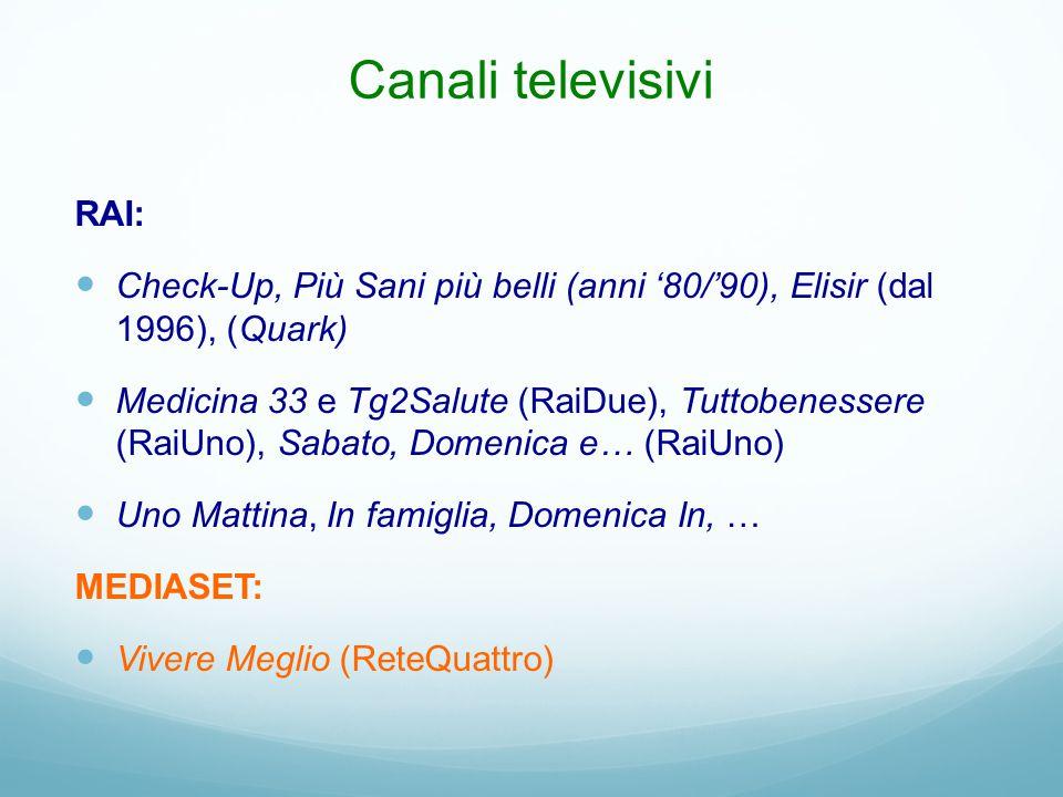 Canali televisivi RAI: Check-Up, Più Sani più belli (anni '80/'90), Elisir (dal 1996), (Quark) Medicina 33 e Tg2Salute (RaiDue), Tuttobenessere (RaiUn
