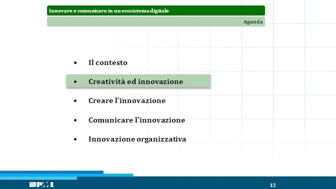 Innovare e comunicare in un ecosistema digitaleAgenda 12 Il contesto Creatività ed innovazione Creare l'innovazione Comunicare l'innovazione Innovazione organizzativa