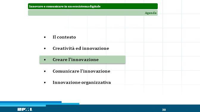 Innovare e comunicare in un ecosistema digitaleAgenda 30 Il contesto Creatività ed innovazione Creare l'innovazione Comunicare l'innovazione Innovazione organizzativa