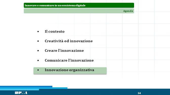Innovare e comunicare in un ecosistema digitaleAgenda 54 Il contesto Creatività ed innovazione Creare l'innovazione Comunicare l'innovazione Innovazione organizzativa