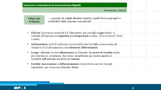 Innovare e comunicare in un ecosistema digitaleIl contesto: i clienti 8 Valori per il Cliente ….