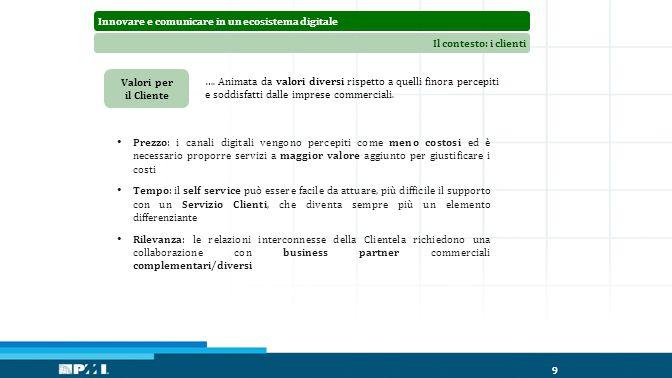 Innovare e comunicare in un ecosistema digitaleIl contesto: i clienti 9 Valori per il Cliente ….