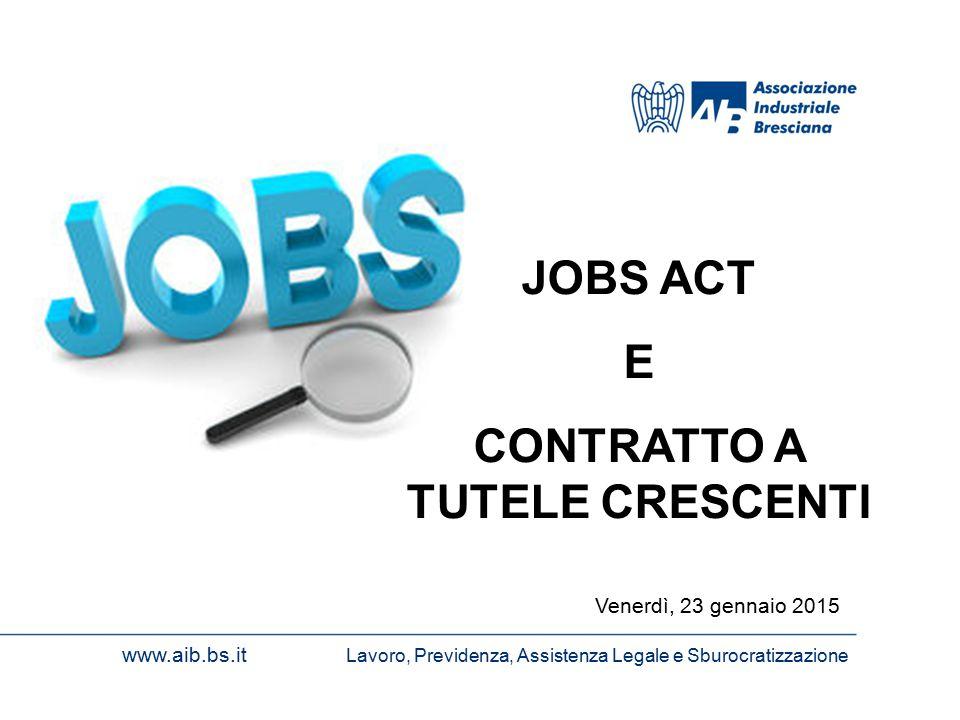 www.aib.bs.it Lavoro, Previdenza, Assistenza Legale e Sburocratizzazione Venerdì, 23 gennaio 2015 JOBS ACT E CONTRATTO A TUTELE CRESCENTI
