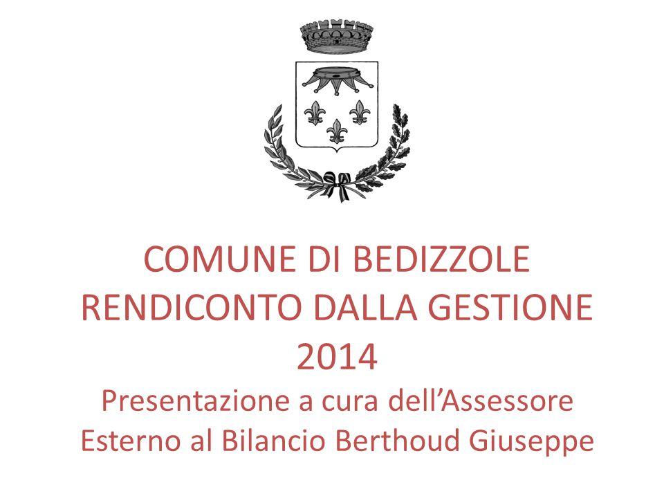 COMUNE DI BEDIZZOLE RENDICONTO DALLA GESTIONE 2014 Presentazione a cura dell'Assessore Esterno al Bilancio Berthoud Giuseppe