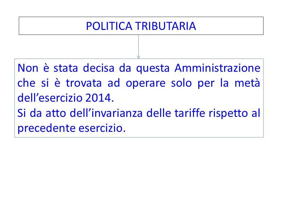 POLITICA TRIBUTARIA Non è stata decisa da questa Amministrazione che si è trovata ad operare solo per la metà dell'esercizio 2014.