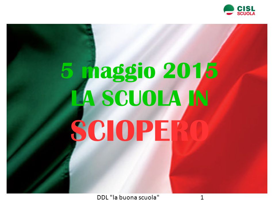 1DDL la buona scuola 5 maggio 2015 LA SCUOLA IN SCIOPERO