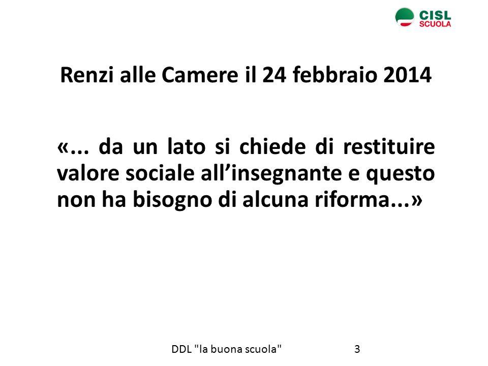 3DDL la buona scuola Renzi alle Camere il 24 febbraio 2014 «...