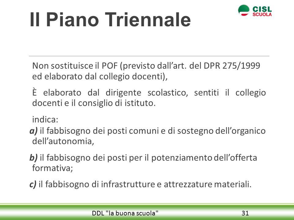 Il Piano Triennale Non sostituisce il POF (previsto dall'art.