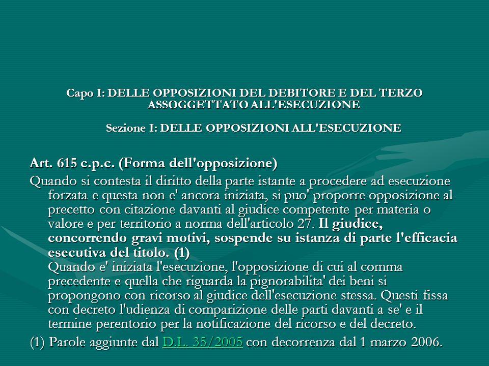 Capo I: DELLE OPPOSIZIONI DEL DEBITORE E DEL TERZO ASSOGGETTATO ALL'ESECUZIONE Sezione I: DELLE OPPOSIZIONI ALL'ESECUZIONE Art. 615 c.p.c. (Forma dell