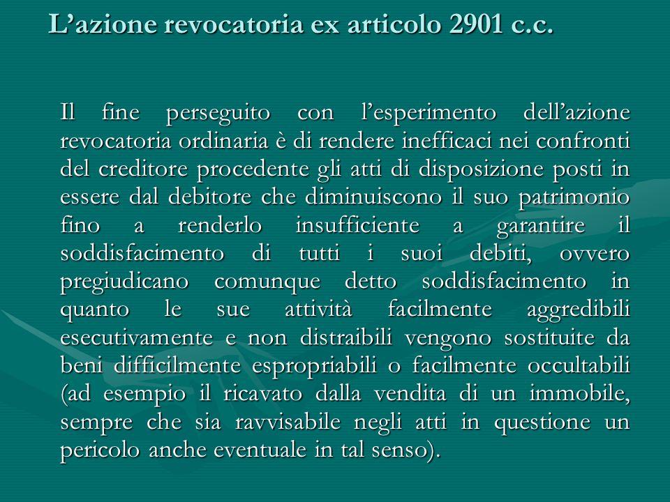 L'azione revocatoria ex articolo 2901 c.c. L'azione revocatoria ex articolo 2901 c.c. Il fine perseguito con l'esperimento dell'azione revocatoria ord