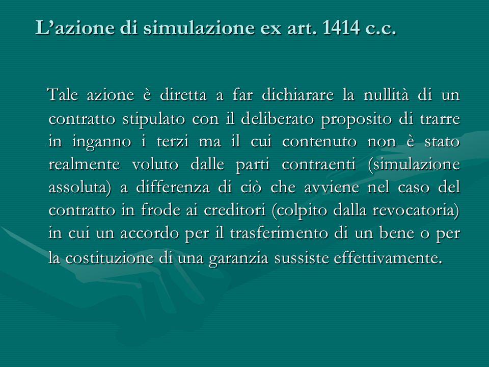 L'azione di simulazione ex art. 1414 c.c. L'azione di simulazione ex art. 1414 c.c. Tale azione è diretta a far dichiarare la nullità di un contratto