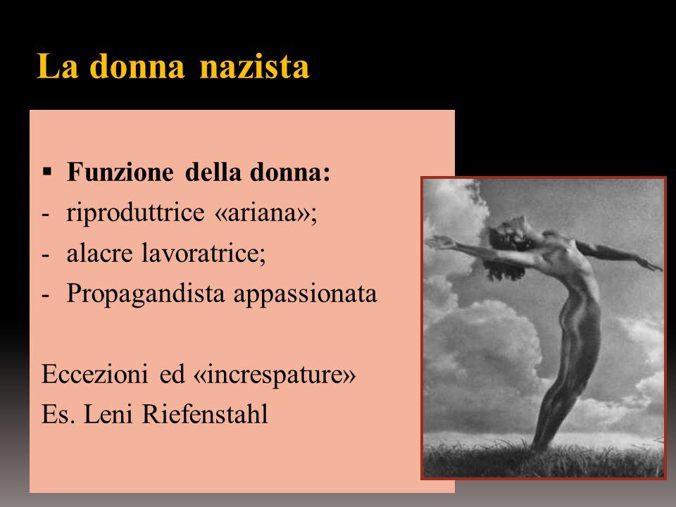 La donna nazista  Funzione della donna: - riproduttrice «ariana»; - alacre lavoratrice; - Propagandista appassionata Eccezioni ed «increspature» Es.