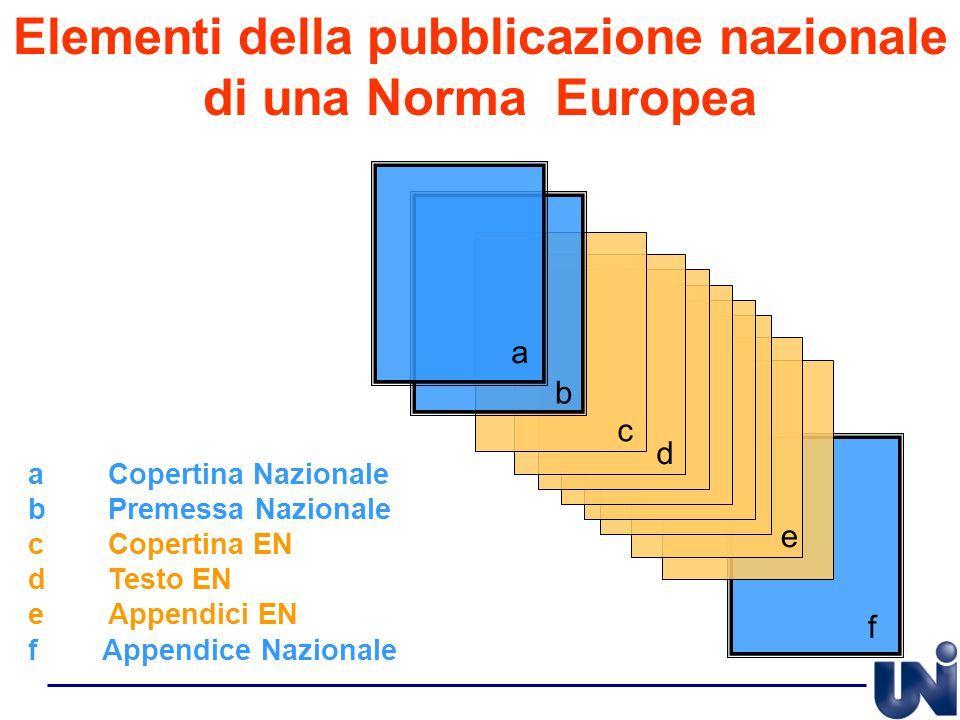 a b c d e f Elementi della pubblicazione nazionale di una Norma Europea aCopertina Nazionale bPremessa Nazionale cCopertina EN dTesto EN eAppendici EN