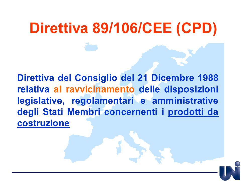 Direttiva 89/106/CEE (CPD) Direttiva del Consiglio del 21 Dicembre 1988 relativa al ravvicinamento delle disposizioni legislative, regolamentari e amm