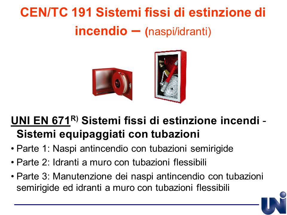 CEN/TC 191 Sistemi fissi di estinzione di incendio – (naspi/idranti) UNI EN 671 R) Sistemi fissi di estinzione incendi - Sistemi equipaggiati con tuba