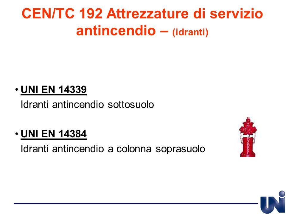 CEN/TC 192 Attrezzature di servizio antincendio – (idranti) UNI EN 14339 Idranti antincendio sottosuolo UNI EN 14384 Idranti antincendio a colonna sop