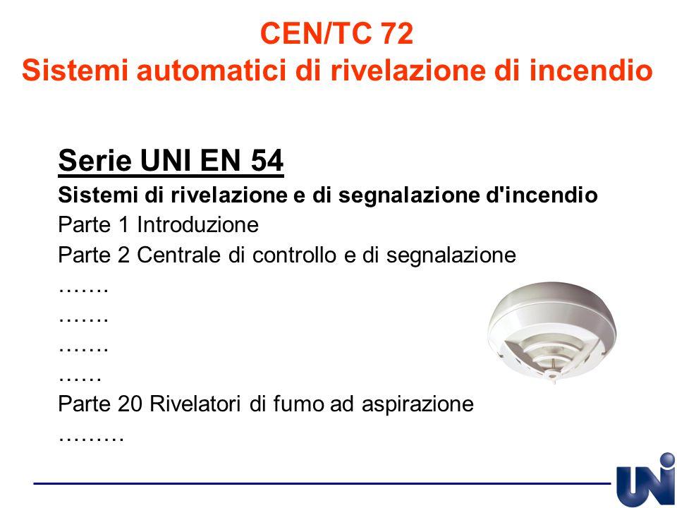 CEN/TC 72 Sistemi automatici di rivelazione di incendio Serie UNI EN 54 Sistemi di rivelazione e di segnalazione d'incendio Parte 1 Introduzione Parte