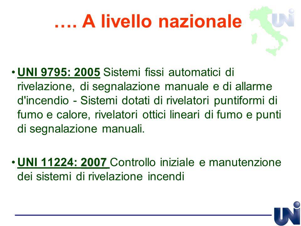 …. A livello nazionale UNI 9795: 2005 Sistemi fissi automatici di rivelazione, di segnalazione manuale e di allarme d'incendio - Sistemi dotati di riv